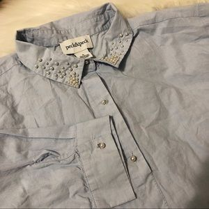 Pearl detail button up blouse